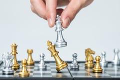 Золото и серебряные шахматы стоковые фотографии rf