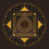Золото картины Bitcoin симметричное Стоковые Фото