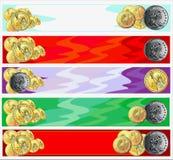 золото монеток знамен горизонтальное Стоковое Изображение RF