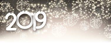 Золото предпосылка 2019 Новых Годов с фейерверками бесплатная иллюстрация