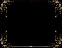 золото рамки предпосылки черное Стоковые Изображения RF