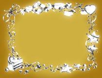 золото рамки дня рождения счастливое Стоковые Изображения