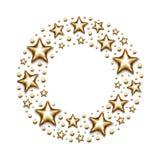 Золото рождества играет главные роли и отбортовывает в круге на белой предпосылке иллюстрация вектора