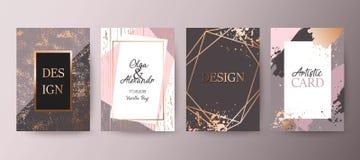 Золото, розовая брошюра, рогулька, приглашение, карточка иллюстрация вектора