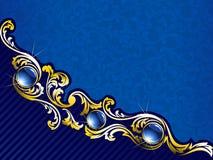 золото самоцветов предпосылки голубое шикарное Стоковые Фото