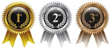 Золото, серебр, бронзовый значок медали значка победителя Стоковые Изображения