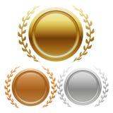 Золото, серебр и бронза чемпиона награждают медали иллюстрация вектора