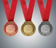Золото, серебр и бронзовые медали Стоковое Изображение RF