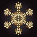 Золото снежинки мандалы, племенная винтажная предпосылка с медальоном бесплатная иллюстрация