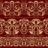 золото собрания граници флористическое безшовное иллюстрация вектора