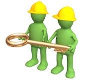 золото строителей вручает ключа 2 удерживания Стоковое Изображение RF