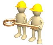 золото строителей вручает ключа 2 удерживания Стоковое Фото