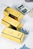 золото финансов calc штанги Стоковое Изображение