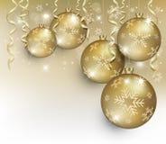 Золото хлопь шарика рождества Стоковые Фотографии RF