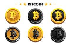 Золото шаржа и значок Bitcoin черноты Цифров или виртуальные валюты чеканят и электронные наличные деньги иллюстрация вектора
