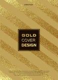 Золото, яркий блеск, Sparkles конструирует шаблон для брошюр, приглашение на Новый Год, свадьба, день рождения Элементы патины зо иллюстрация штока