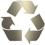 золото 3d рециркулирует символ Стоковые Фото