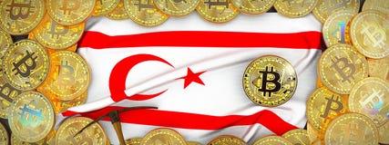 Золото Bitcoins вокруг северного флага Кипра и обушок на le иллюстрация штока