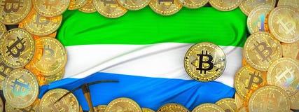 Золото Bitcoins вокруг флага Сьерра-Леоне и обушок на левой стороне иллюстрация вектора
