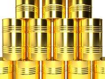 Золотые баррели нефти, аранжированные в строках иллюстрация штока
