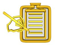 Золотые блокнот и рука с карандашем бесплатная иллюстрация