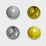 Золотые вектора реалистические и серебряные кнопки с тенями на прозрачной предпосылке, металлическими шариками иллюстрация штока