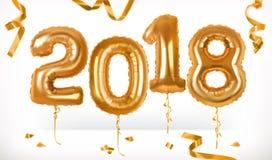 Золотые воздушные шары игрушки Счастливый Новый Год 2018 зацепляет икону Стоковая Фотография RF