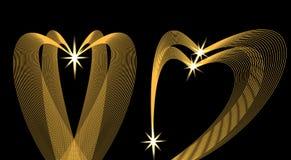 Золотые волны в форме сердца на черной предпосылке звезда иллюстрация Стоковые Изображения RF