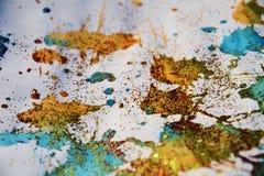Золотые голубые пятна текстурируют, вощиют предпосылку зимы Стоковое фото RF