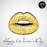 Золотые губы Vector иллюстрация с днем ` s женщин текста счастливым Стоковая Фотография