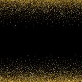 Золотые звезды, блестящий confetti Разбросанный небольшой сверкнать, сияющие шарики, круги Случайное звездное падение на черной п иллюстрация вектора