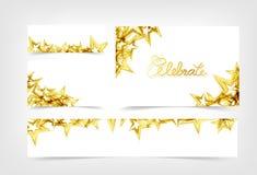 Золотые звезды падая для того чтобы отпраздновать разбрасывают партии праздник украшения, знамена подарочного сертификата собрани иллюстрация штока