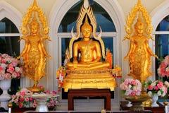 Золотые идолы лорда Будды, вне главного здания Wat Prathat, Pha Sorn Kaew, в Khao Kor, Phetchabun, Таиланд стоковое фото