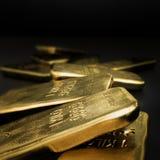 Золотые инготы, товарный рынок Стоковое Изображение