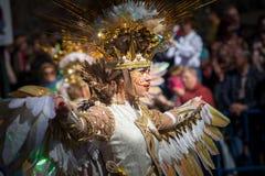 Золотые костюмы фантазии в параде масленицы стоковые фото