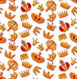 Золотые кроны doodle безшовная картина вектора Стоковая Фотография RF