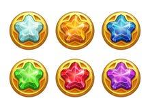 Золотые круглые имущества с красочными кристаллическими звездами внутрь Стоковые Изображения RF
