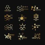 Золотые молекулярные логотипы вектора Набор значков технологии химии формулы концепции развития генетический иллюстрация штока