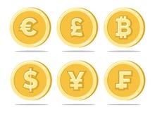 Золотые монетки валюты иллюстрация вектора