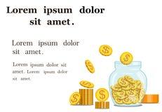 Золотые монетки, который хранят в стеклянном опарнике деньги также вектор иллюстрации притяжки corel иллюстрация вектора