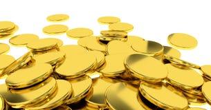 Золотые монетки на белой предпосылке Стоковые Фото