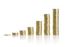 Золотые монетки на белой предпосылке Стоковая Фотография RF