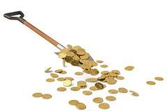 Золотые монетки на лопаткоулавливателе на белой иллюстрации предпосылки 3D иллюстрация вектора