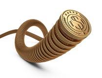 Золотые монетки по-одному Концепция денег исходящей наличности Стоковые Фотографии RF