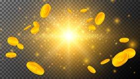 Золотые монетки со световыми эффектами на прозрачном бесплатная иллюстрация