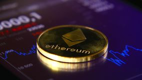 Золотые монетки ethereum на предпосылке графического графика состояния запасов Концентрация Секретный-валюты  видеоматериал