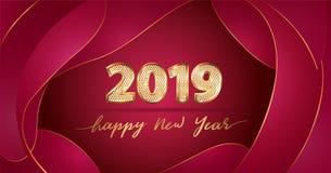 Золотые Новый Год текста 2019 вектора роскошные счастливый на китайской красной жидкой предпосылке иллюстрация штока