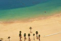 Золотые пески Teresitas с пальмами на Тенерифе Стоковое Изображение RF