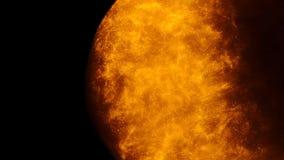 Золотые песок или пыль создавая абстрактные образования в форме солнца на черной предпосылке Предпосылки искусства сток-видео