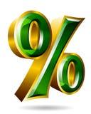 Золотые проценты подписывают внутри стиль 3D изолированный на белой предпосылке Ve Стоковые Изображения